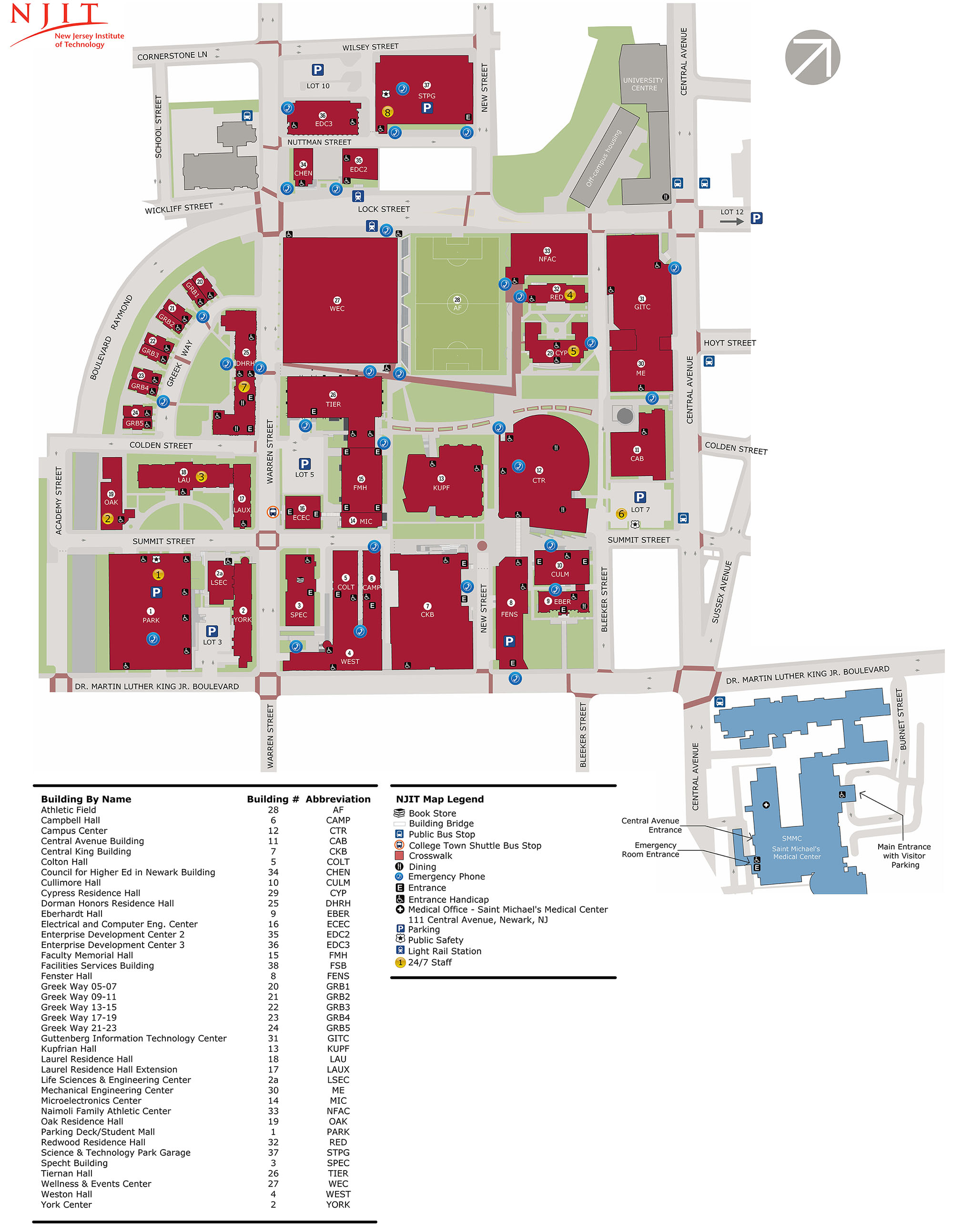 College Of New Jersey Campus Map.Campus Parking Maps New Jersey Institute Of Technology